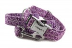 Leine Abstract Flower Violet mit dem Halsband